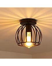 iDEGU Vintage industriële plafondlamp van metaal kooi kroonluchter lampenkap geometrisch design lamp E27 plafondlamp voor slaapkamer café restaurant entree gang 20 cm zwart