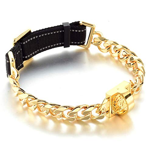 19 mm Dog Collar 18K Gold Heavy Duty Stainless Steel Dog Luxury Training Collar Cuban Link with Durable Nylon Belt Adjustable Reflective All Breeds Chain (L(20'-24'))