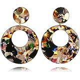 Joan Nunu Acrylic Earrings For Women Girls Hoop Earrings Bohemia Resin Hoops Stud Earrings Fashion Jewelry