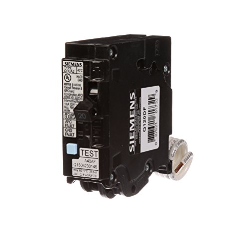 Siemens Q120DF 20-Amp Afci/Gfci Dual Function Circuit Breaker, Plug on Load Center Style
