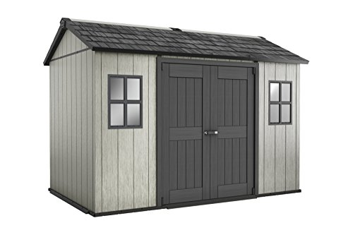 Keter Oakland Outdoor Plastic Garden Storage Shed, Grey, 11 x 7.5 feet