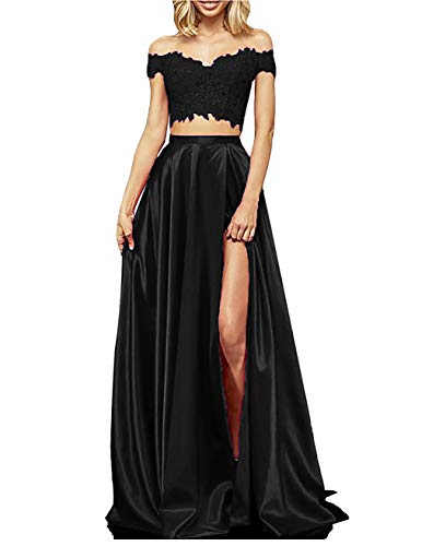 yinyyinhs Two Piece Prom Dress Long Lace Satin Slit Formal Evening Gowns Black Size 6