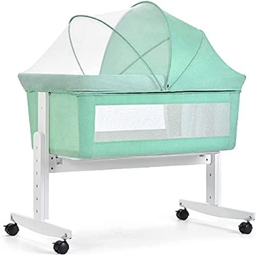 ZGYZ Cuna de cabecera Cuna/Co-Cama,Cama de bebé de Madera Maciza con Ventana de Malla Transpirable y colchón Agitador móvil Altura Ajustable,Cuna de bebé,Verde