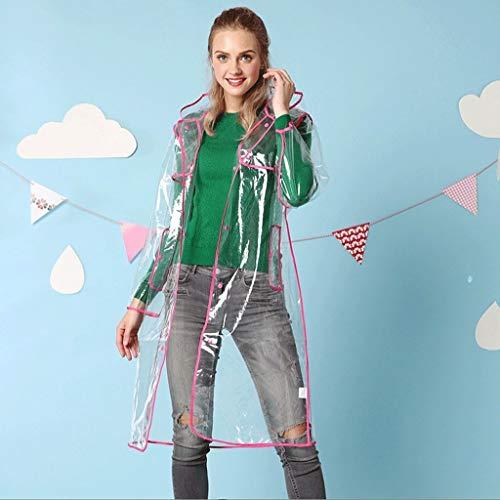YDS Shop transparante waterdichte regenjas voor dames, lange verdikking/hoge zichtbaarheid, outdoor-reizen, kamperen, wandelen, hardlopen Medium roze