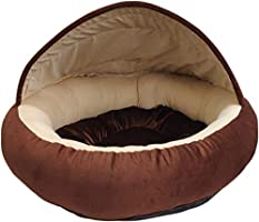 Mellifluous Young Cat and Dog Pet Bed, Brown-Cream