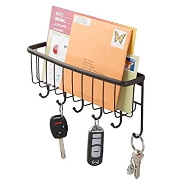 mDesign Mail, Letter Holder, Key Rack Organizer for Entryway, Kitchen - Wall Mount, Bronze