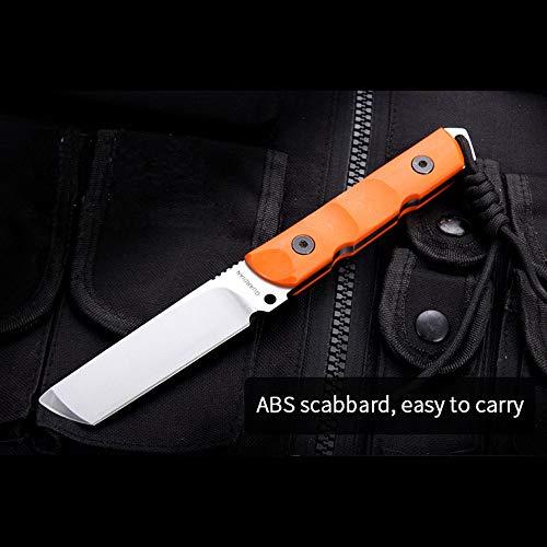 NedFoss Outdoor Tanto Messer feststehend mit Kydex-Scheide aus D2 Stahl Klinge und G10 Griff, Extra scharf, 59-60HRC, ca 22.5cm, zum Camping, Angel, Jagd, Grillen oder Kochen