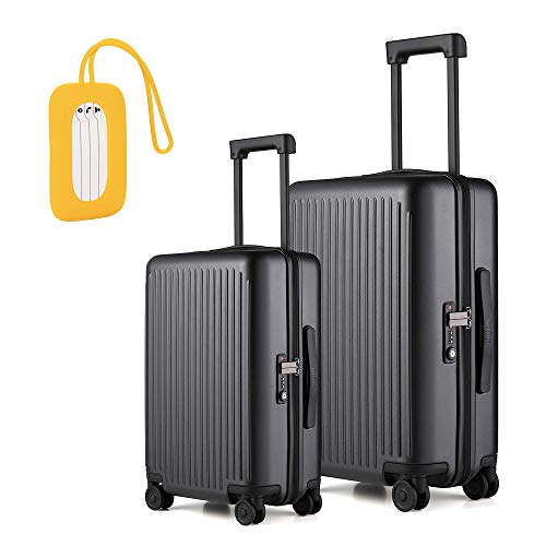 NINETYGO Hardside Luggage with Spinner Wheels and TSA Lock, Luggage for Women and Men (20&24 Black); Luggage Tag Silica Gel Boarding Tags (Yellow)