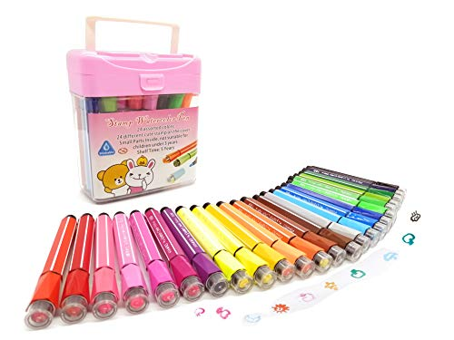WQIYA Stamp Marker for Kids Watercolor Pens Storage Case - 24 Colors (Markers in Pink Storage Case)