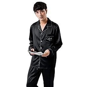 チーアンTiann メンズ パジャマ シルク ルームウェア 部屋着 長袖 前開き 寝巻き 上下セット 吸湿性 通気性 ブラック XL