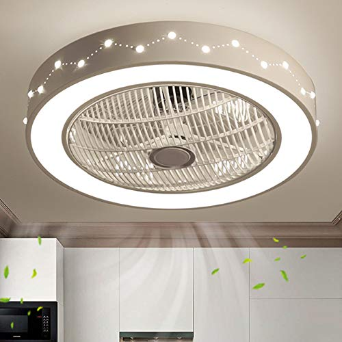 Deckenventilator mit Beleuchtung LED-Licht Einstellbare Windgeschwindigkeit Dimmbar Creative Gitterlüfter Invisible Fan mit Fernbedienung, für Schlafzimmer Wohnzimmer Esszimmer (Stil 4)