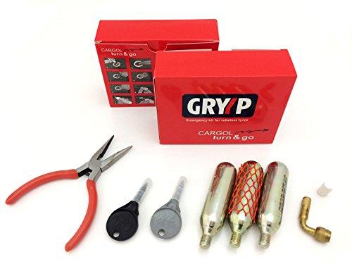 Gryyp Kit reparapinchazos Cargol para reparación de pinchazos en neumaticos tubeless de moto o quad. Con bombonas de CO2 para su posterior inflado.