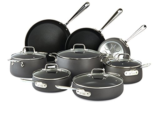 All-Clad E785SB64 HA1 Hard Anodized Nonstick Cookware Set, Pots and Pans Set, 13 Piece, Black