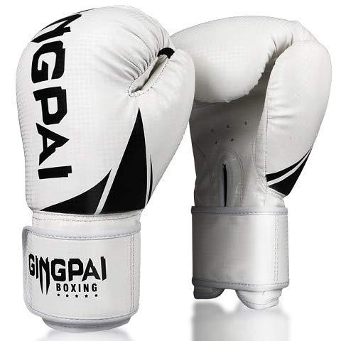 DJLHN1 Paar Metall Farbe Kinder/Erwachsene Frauen Männer Boxhandschuhe Boxsack Punch Training Muay Thai Karate Kampfhandschuhe - 2S weiß, 6oz