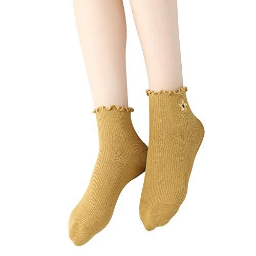 FANG Classic ademende katoenen sokken, herfst en winter bloemensokken, damessokken, slang, geborduurde sokken (5 paar), ademende anti-zweetsokken