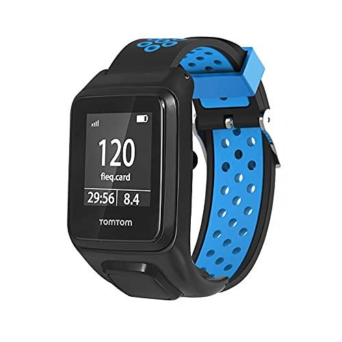 KINOEHOO Correas para relojes Compatible con TomTom Runner 2/3 Spark/3 Cardio + Music Pulseras de repuesto.Correa de Reloj.(Negro y azul)