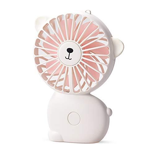 EKOHOME Mini Ventilador USB Silencio 3.2W Portátil Ventilador de Mesa Enfriamiento 3 Velocidades con 7 Colores Luz LED Lindo Gato Ventilador para Niños Chicas Casa Oficina Colegio (Blanco)