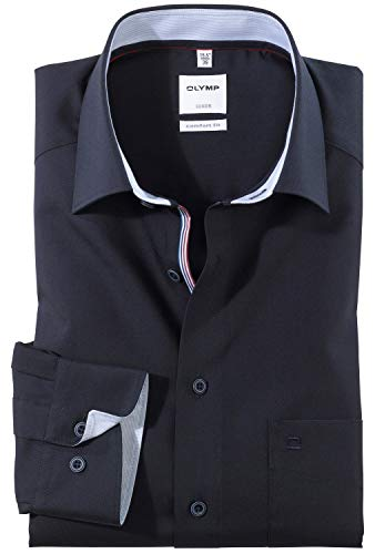 OLYMP Luxor Comfort fit Hemd Langarm New Kent Kragen Nachtblau Größe 42