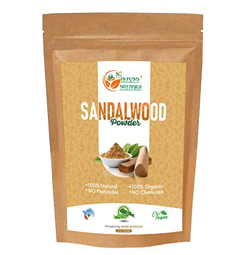 Herbs Botanica Chandan (Sandalwood) Powder Organic 100gm / 3.52 oz For Skin, Face Pack, Face Mask, Worship Tilak, Auspicious Occasions 100% Natural
