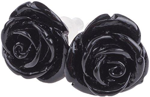 Unbekannt Damen Ohrstecker Rosen Vintage Roses Retro Ohrringe (Schwarz)