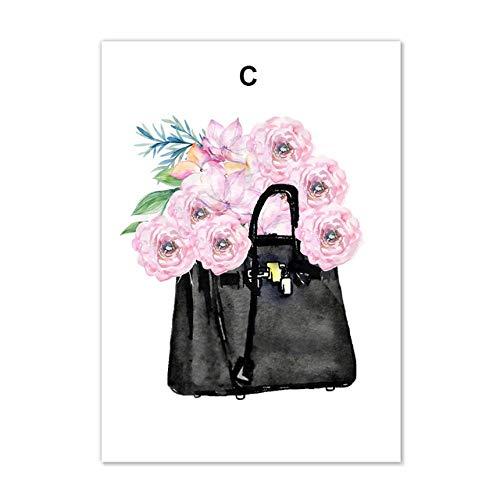 KELDOG® Poster en druk Nordic kledingtas mode Parijs parfums Wall Art foto's voor schilderijen op canvas, voor de woonkamer 50 x 70 cm