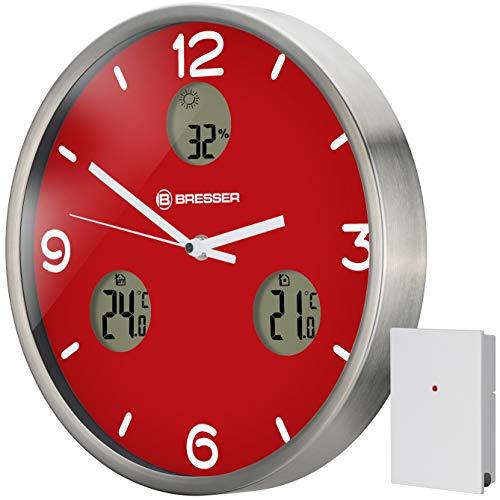 Bresser MyTime io NX - Reloj de Pared inalámbrico con termómetro e higrómetro (30 cm de diámetro)