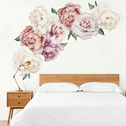 MOLANCIA Floral Wall Decals Peony Flowers Wall Stickers Peony Rose Wall Posters Peony Art Murals product image