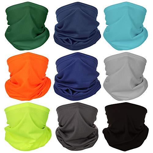 Face Masks Bandanas Neck Gaiters Balaclava Magic Hiking Headband Elastic UV Resistence Sport Headwear Outdoor (Mixed Colors- Pure Color 9)