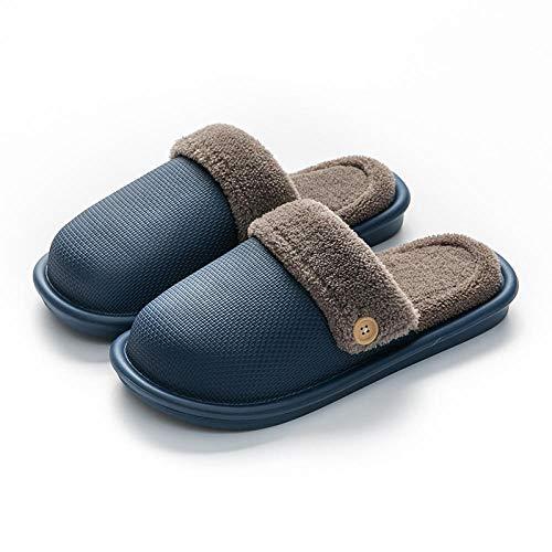 XZDNYDHGX Zapatillas de Casa para Hombre Invierno,Zapatillas de Invierno con Piel para Mujer, Zapatillas de casa cálidas Impermeables de Cuero Azul Oscuro EU 43-44