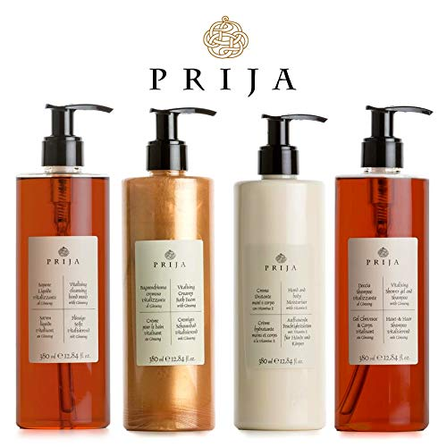 Prija XL Set 4x 380 ml Flüssigseife, Haut & Haarshampoo, Bodylotion, Creme Bad