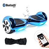 TOEU Hoverboard 6.5 Pulgadas, Self Balancing Scooter Patinete Eléctrico Scooter con Bluetooth, Motor 250W * 2 con Bluetooth CE Certificado (ChromeBlue-Bluetooth)