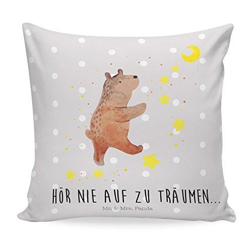 Mr. & Mrs. Panda Sofakissen, Dekokissen, 40x40 Kissen Bär Träume mit Spruch - Farbe Grau Pastell