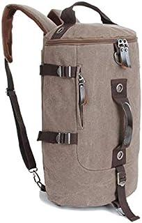 Men women Fashion School Big Cylindrical backpack Canvas Leisure Travel Bag