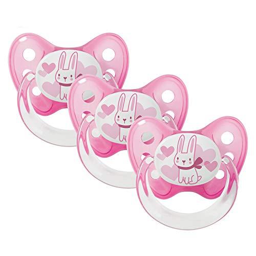 Dentistar® Schnuller 3er Set - Baby Nuckel Silikon in Größe 2, 6-14 Monate - zahnfreundlich & kiefergerecht - Beruhigungssauger für Babys - Made in Germany - BPA frei - Pink Hase