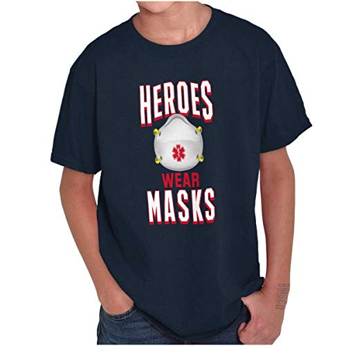 Heroes Wear Masks Nurses & Medical Professionals Youth T Shirt Navy