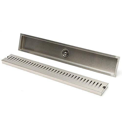 PIJN Bodenablauf Brushed Insert Linear Badezimmer Dusche Bodenablauf 600mm Edelstahl-Ablaufabdeckung (Color : Silver, Size : 600mm)