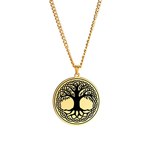 LUSSO Celtic Knot Tree of Life Round Necklace Family Tree Pendant Religious Symbol Jewelry for Women (Style 1-Gold)