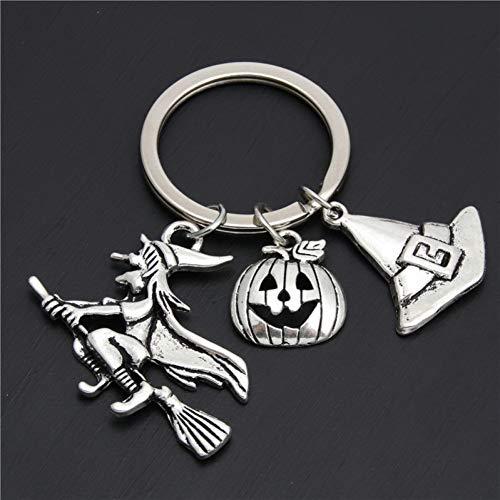TAOZIAA heks op bezem Halloween sleutelhangers Diy metalen sleutelhanger magische hoed pompoen bedels heksen sieraden