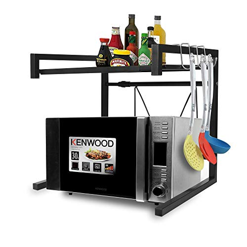 RETMI Soporte extensible para microondas Soporte para horno Tostador Soporte para horno Organizador de especias ajustable Soporte de cocina para estante de mostrador