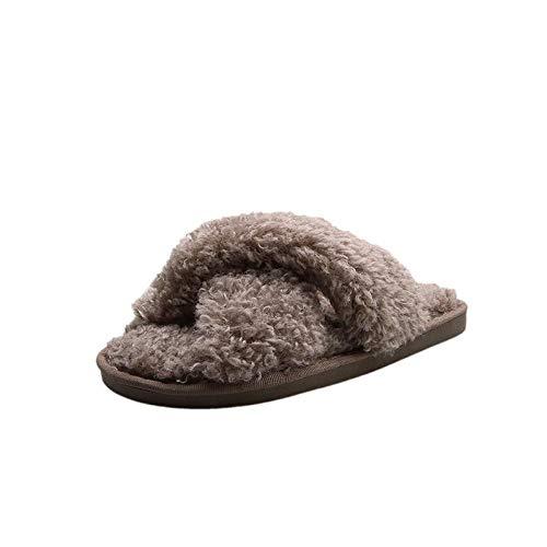 XZDNYDHGX Zapatillas de Estar por casa Mujer,Zapatillas de Invierno para Mujer, Piel sintética para el hogar, toboganes Peludos, cómodos Zapatos cálidos de Felpa para Mujer, Caqui EU 37-38