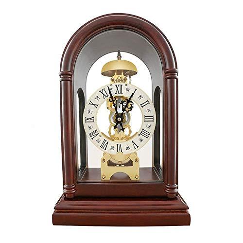 SHBV Reloj mecánico Reloj de Mesa Romano de Madera Maciza Reloj Decorativo de Movimiento Antiguo Adecuado para Sala de Estar Dormitorio Cocina (Color: Deep Color)