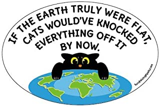 Flat Earth Cats Funny Quote oval magnet
