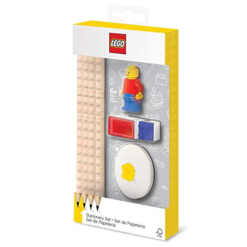 IQ Lego Stationery Set with Minifigure, Graphite Pencils, Eraser, Pencil Sharpener, and Pencil Topper
