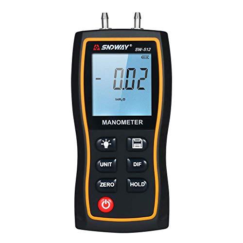 Bxu-bg Manómetro - Manómetro diferencial de alta precisión LCD DIGITAL DIGITAL DIBLE PORT MANÓTHER DIFERENCIAL DE PRESIÓN DE AIRE PRUEBA TESTER con 11 unidades de medición / ± 13.79kPA