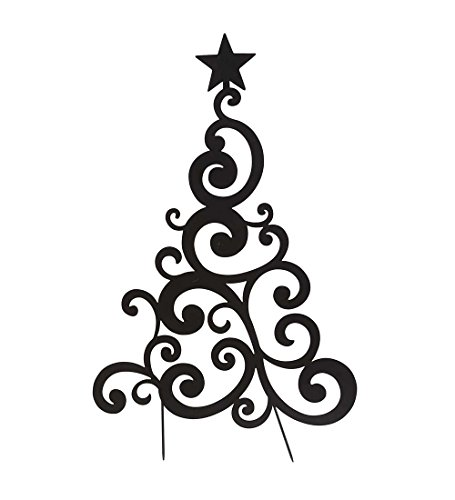 Wind & Weather Outdoor Black Metal Christmas Tree Sculpture Yard and Garden Stake (Basic)
