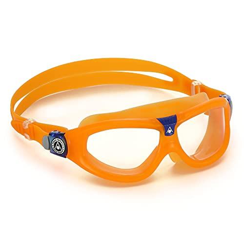 Aqua Sphere Seal Kid 2 Youth Swim Mask - Clear Lens, Orange + Blue Frame, One Size, MS4450840LC