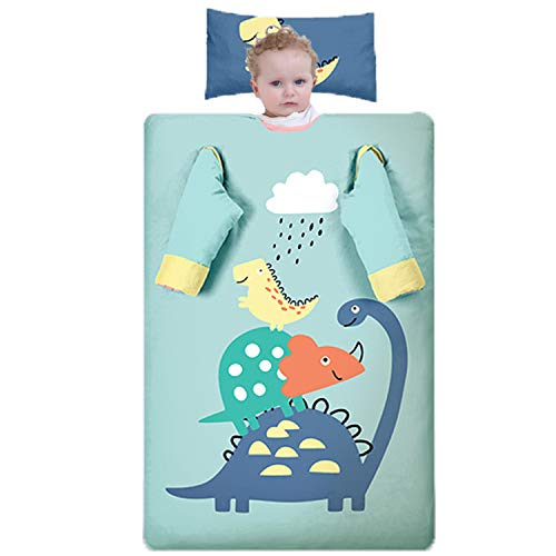 Dicke Baumwoll-Kinderschlafsack, Niedlicher Cartoon-Dinosaurier, Abnehmbare Ärmel Und Innere Liner, Multifunktionale Baby Anti-Kick-Quilt-Nickerchen Schlafsack,Thick