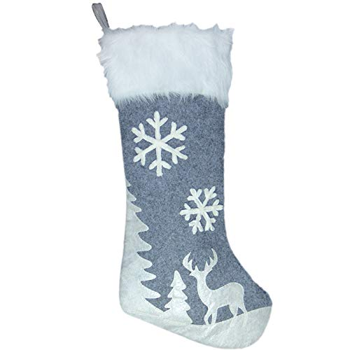 Lulu Home Christmas Stockings, 20 Inches Large Luxury Flannel Reindeer and Snowflake Stockings for Christmas Holiday Party Decorations One Piece