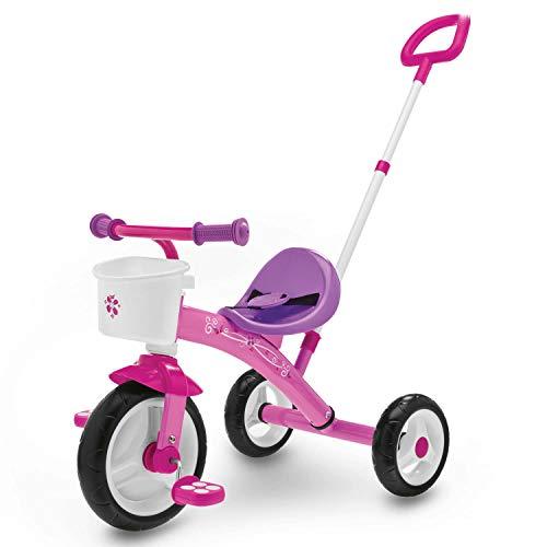 Chicco Triciclo Bambini U-GO 2in1, Triciclo Bimba con Maniglione ad Altezza Regolabile, Cinture di Sicurezza e Cestello Portaoggetti, Max 20 kg, Giochi per Bambini 18 Mesi, 5 Anni