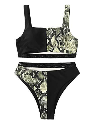 SweatyRocks Women's Sexy 2 Piece Bathing Suit Cut Out Snakeskin Block Printed High Waist Bikini Set Snakeskin M